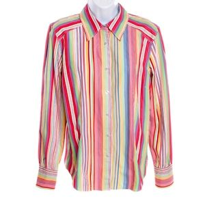 Tommy Hilfiger Rainbow Stripe Button Down Shirt L